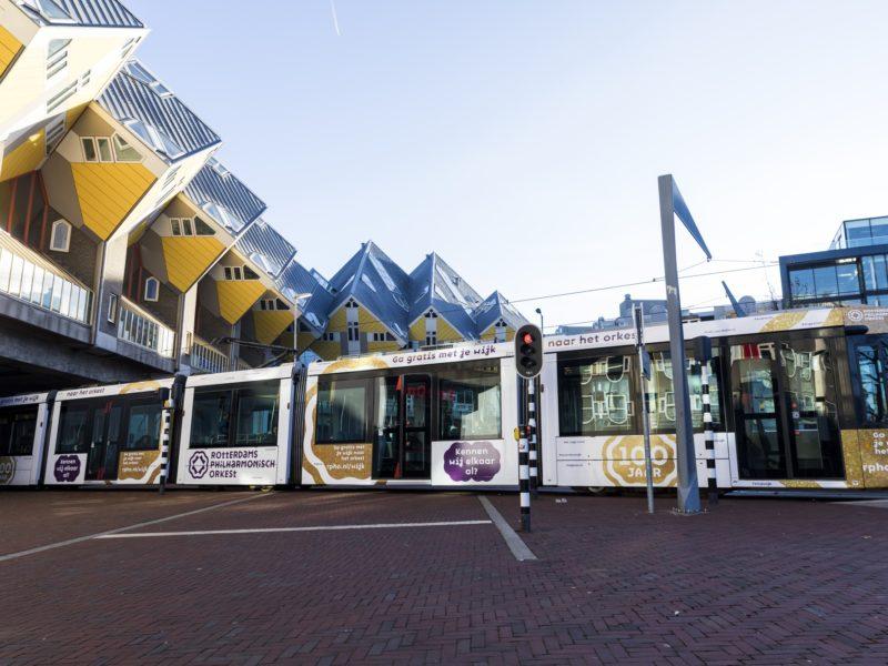 Tram driving near Cube houses in Rotterdam. Photo: Guido Pijper