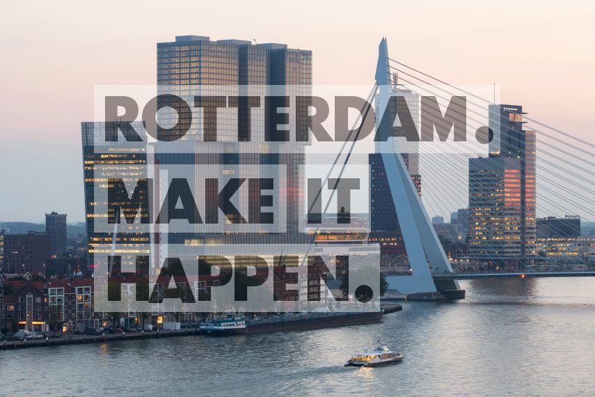 De Rotterdam is the largest multipurpose building in the Netherlands (160,000m2), designed by OMA. In front you'll see the Noordereiland.