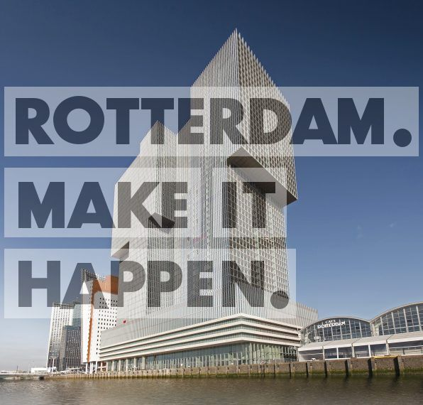 The building De Rotterdam is in area the largest in the Netherlands. The building on the right with the two arcs is the cruise terminal.