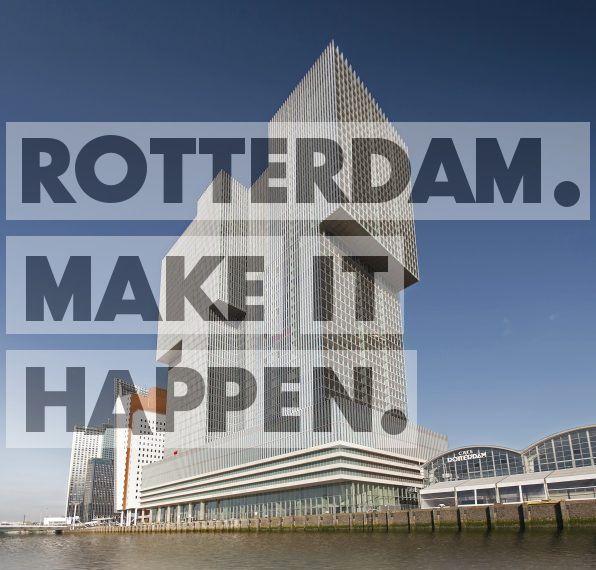 Het gebouw De Rotterdam is qua oppervlakte het grootste van Nederland. Het gebouw met de twee bogen daarnaast is de cruiseterminal.