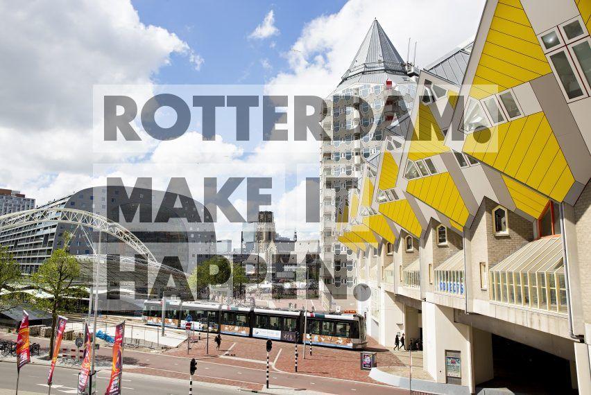 De Kubuswoningen en het Potlood ontworpen door Piet Blom en de Markthal ontworpen door Winy Maas van MVRDV Architecten.