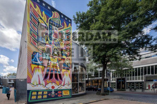 Street art kunstwerk van Ian Kirk Patrick nabij de Kruiskade.