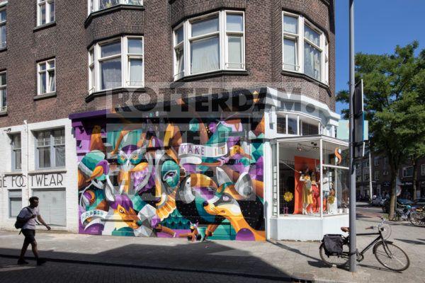 Street art kunstwerk van I Am Eelco in de Bloemkwekersstraat.