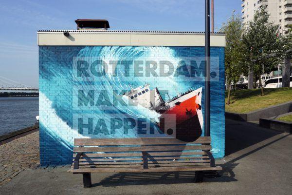 Kunstwerk van Bart Smeets aan de Boompjeskade.
