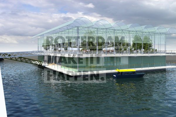 Artist impression van de Floating Farm die in ontwikkeling is in de Merwe4Haven. Foto credits by Beladon.