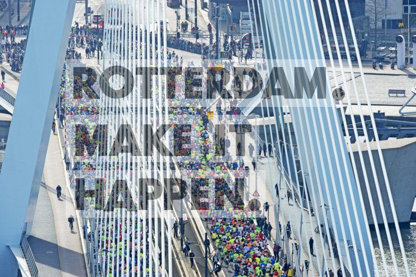 De Marathon van Rotterdam, voor het eerst gehouden in 1981, staat bekend als één van de mooiste ter wereld. Volgens kenners is niet alleen het uitzicht, maar vooral de sfeer ongeëvenaard.  De marathon wordt meestal in de maand april gelopen. Start en finish zijn op de Coolsingel voor het stadhuis. In 2018 werd echter gestart op de Schiedamsedijk aan de voet van de Erasmusbrug. Dat leverde een mooi plaatje op! In 2018 werd wegens de reconstructie van de Coolsingel de start verlegd van voor het Stadhuis op de Coolsingel naar het Vasteland aan de voet van de Erasmusbrug. Hiermee werd de Erasmusbrug meer dan ooit het symbool voor de Rotterdam Marathon. Tot nu toe passeerden 225.015 marathonlopers de 800 meter lange brug. Dat zijn 450.030 voeten. Bij een gemiddelde staplengte van 80 centimeter zijn dit 1000 stappen per loper. Maar ook weer terug, dus meer dan 450.000.000 stappen werden er op de brug gezet. Dat is gelijk aan 360.024 afgelegde kilometers, oftewel negen keer rond de aarde.