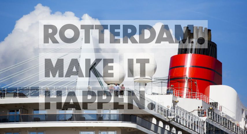 The British cruise ship Queen Elizabeth arrives in Rotterdam. Boasting a staff of 997 and room for no fewer than 2,092 passengers, this is the second largest vessel ever built for British-American shipping owner Cunard. Departing from Rotterdam, the ship will be embarking on four cruises this summer. Shortly after this photograph was taken, the vessel set out for its first cruise to the British Isles.  These days, cruise ships moor at the Wilhelminakade every week, and their arrival is always announced by a loud and cheerful ship's horn. Many ships sail to our port city on their maiden voyage and more than 100 vessels moored in Rotterdam during the 2019 cruise season.
